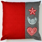 Applique Scandi & linen Texture Cushion