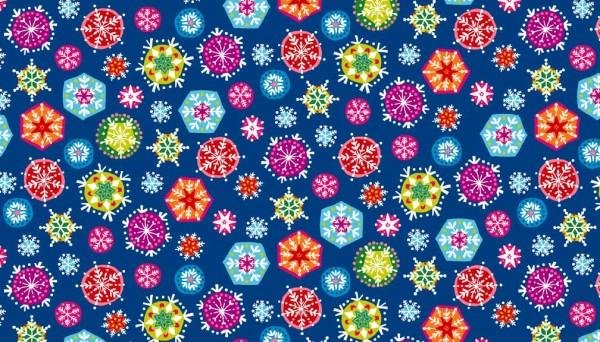 1986/B9 Snowflakes Deep Blue