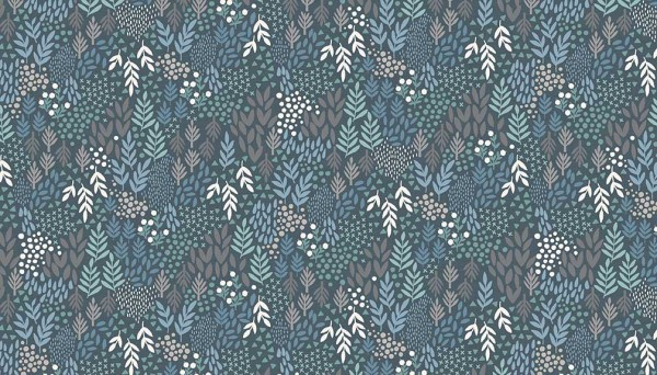 2063/B Woodland Leaves Blue