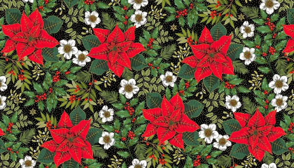 2090/X Large Poinsettia Black
