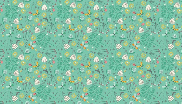 2142/T Flowers Turquoise