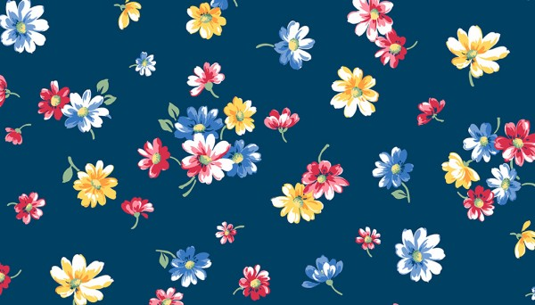 2/9361B Falling Blossoms – Navy