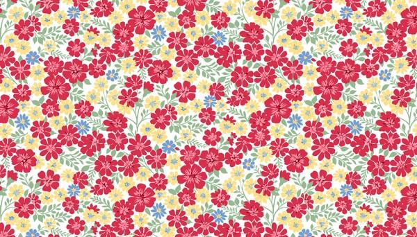 2/9362L Flowerful Vines – White