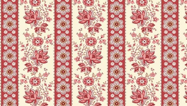 9578/R Floral Stripe
